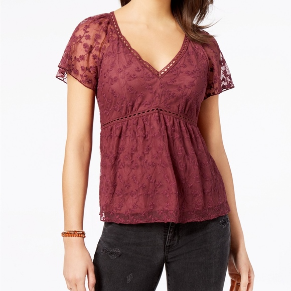 American Rag Maroon Embroidered Lace Top Size XS